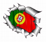 Ripped Torn Metal Design With Portugal Portuguese Flag Motif External Vinyl Car Sticker 105x130mm